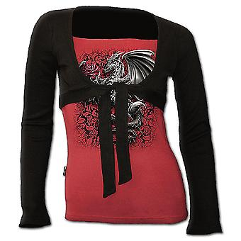 Spiral Direct Gothic DRAGON ROSE - 2in1 Bolero Top Black Red|Dragon|Roses|Wings|Gothic