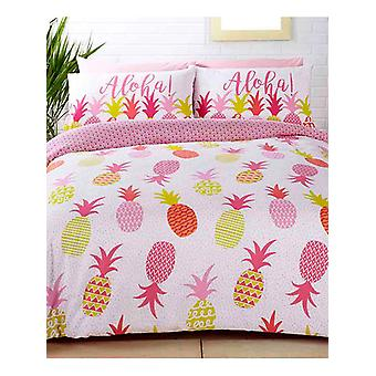 Tropical Pineapples Duvet Cover and Pillowcase Set