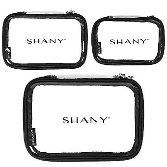 SHANY Cosmetics Travel Makeup Artist Organizer Set of 3 – Clear, Water-resistant Bags in Small, Medium, and Large – Triple Tote