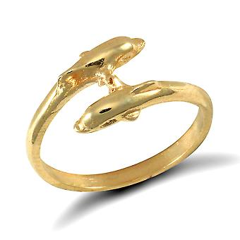 Jewelco London Mädchen solide 9ct Gelbgold Doppel Delphin Crossover Drehmoment Baby Ring