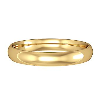 Jewelco London 18ct Yellow Gold - 3mm Essential Light Court-Shaped Band Commitment / Wedding Ring