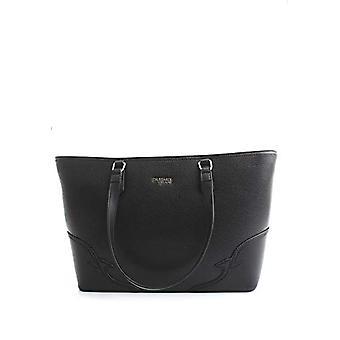 Trussardi Jeans Deco Edge Shopper Drummed Ecol Black Women's Handbag (Black) 27x13x36 cm (W x H x L)