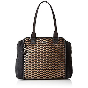 Kipling Faye Fever Bag with Multicolored Woman Handle (H96 Woven Tobacco) 36x29.5x14.5 cm