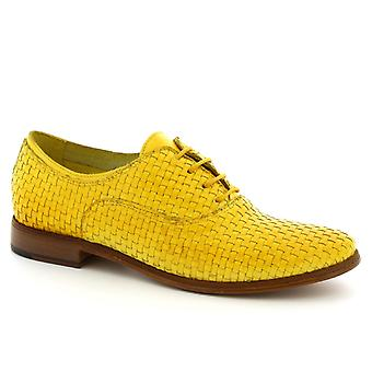Leonardo Shoes Women's handmade lace ups shoes in yellow woven calf leather