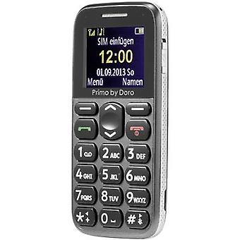 Primo por DORO 215 Big botón teléfono móvil estación de carga, botón de pánico gris