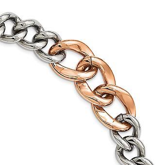 Edelstahl poliert Rose Ip vergoldete Armband - 7,5 Zoll