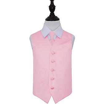 Boy's Baby Pink Plain Satin Wedding Waistcoat & Tie Set