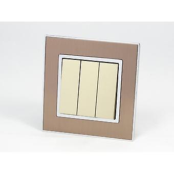 I LumoS AS Luxury Gold Satin Metal Single Frame 3 Gang 2 Way Rocker Light Switches
