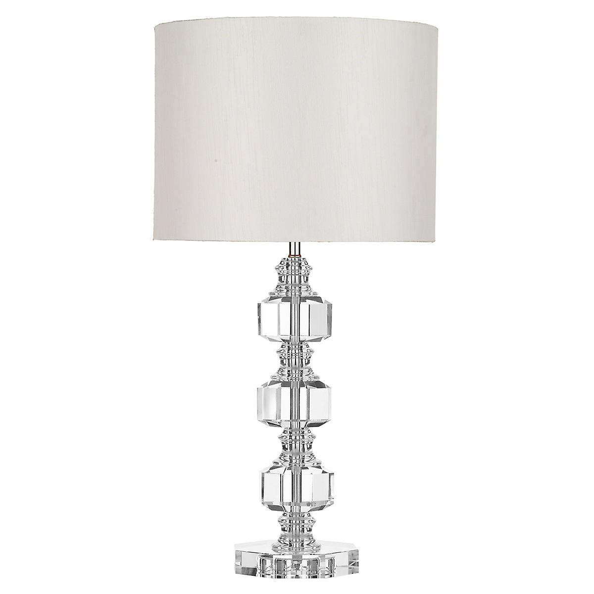 Dar ACT4208 Acton Crystal Table Lamp With Silver Faux Silk Drum Shade