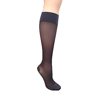 Pebble UK Sheer Support Knee Highs [Style P16] Pepper (Barely Black)  XL
