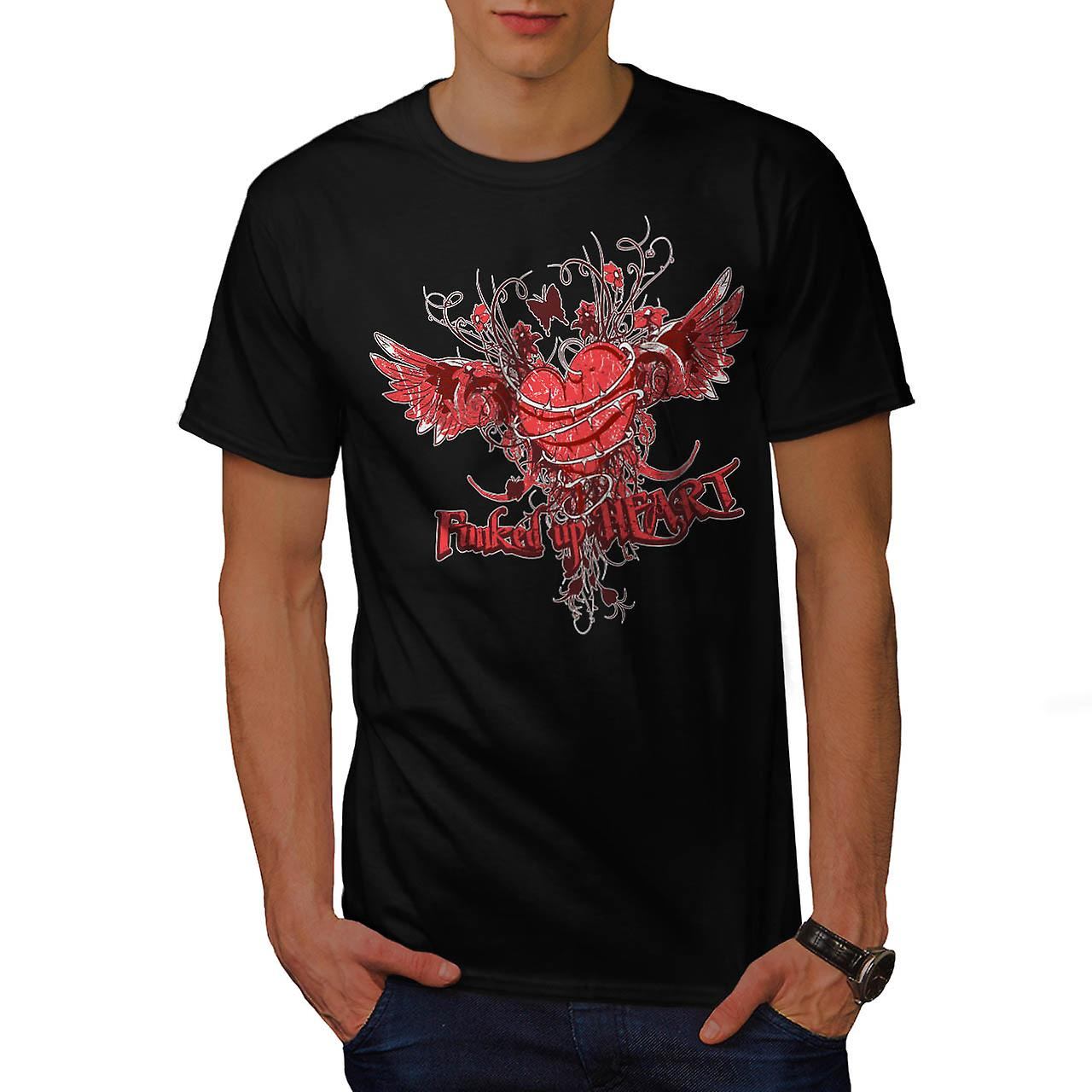 Funked Up Heart Love Thorn Rose Men Black T-shirt | Wellcoda