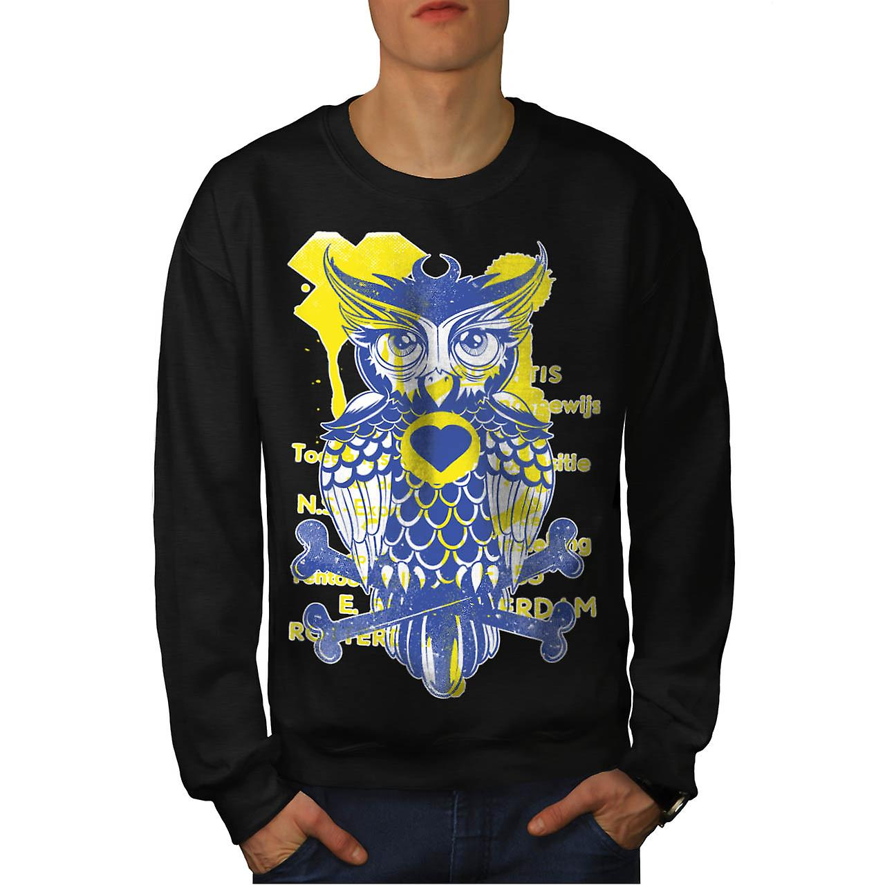 Rotterdam Wild Owl Bird Bones Men Black Sweatshirt | Wellcoda
