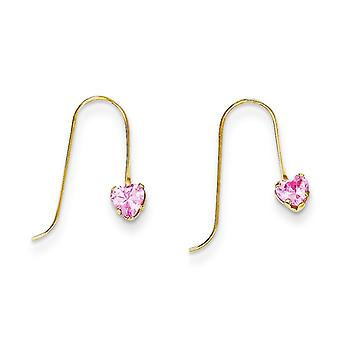 14 k goud roze CZ hart Dangle Oorbellen