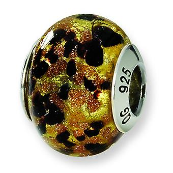 Sterling Silver Reflections Yellow Gold Black Italian Murano Bead Charm