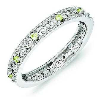 3mm Sterling Silver Polished Prong set Rhodium-plated Stackable Expressions Peridot Ring - Ring Size: 5 to 10