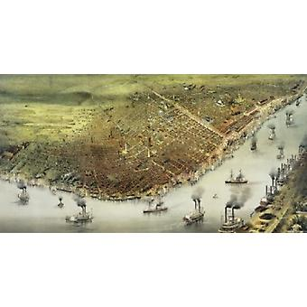 The City of New Orleans  1885  Currier & Ives Poster Print