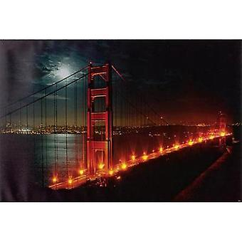 LED picture Golden Gate Bridge LED Heitronic Golden Gate 34009 Multi-coloured