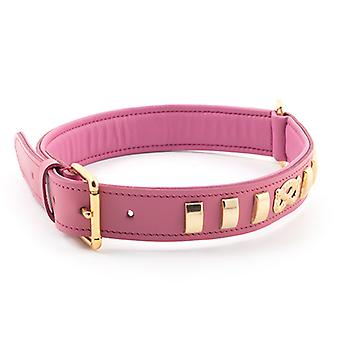 Heritage Deluxe Bull Terrier Leather Collar Staffs Knot Pink 32mm X55-63cm Sz 8