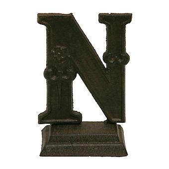 Iron Ornate Standing Monogram Letter N Tabletop Figurine 5 Inches