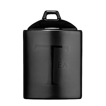 Premier Housewares Black Ceramic Text Tea Storage Jar