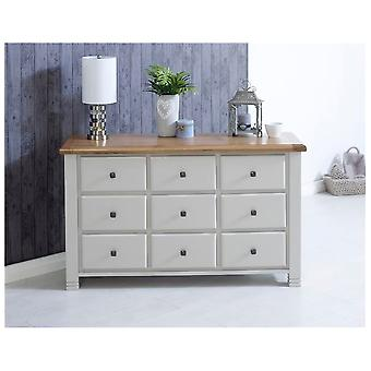 Birlea Woodstock 9 Drawer Chest Grey & Oak