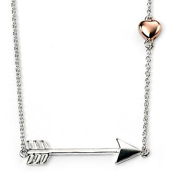 925 Silver Plated Rhodium Arrow & Gold Rose Plaed Heart Necklace Trend