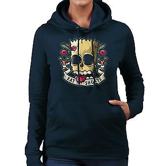 Slecht aan het been Bart Simpson eten mijn Shorts Women's Hooded Sweatshirt