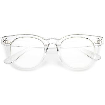 Klassisk Hornet Rimmed briller med klinke aksent bredt armene klar linse 48mm