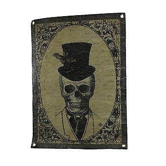 Victorianske skelet mand Vintage stil knitrede klud portræt vægtæppe