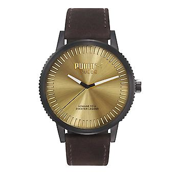 PUMA watch wrist watch mens suede black LEDER PU104101006
