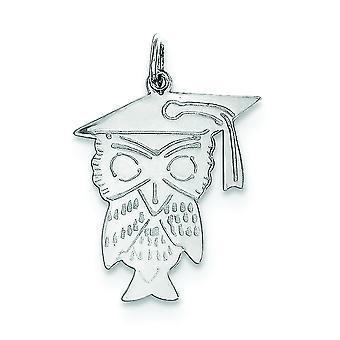Sterling zilveren solide Engravable gepolijst terug Owl charme - 1.0 gram