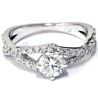 1 1/5 ct Diamond Engagement Ring 14K White Gold Round Brilliant Cut
