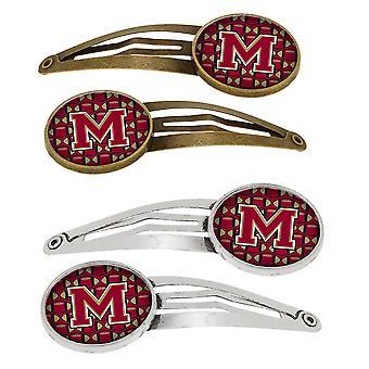 Lettera M calcio Garnet e oro Set di 4 clip per capelli Barrettes