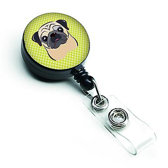 Checkerboard Lime Green Fawn Pug Retractable Badge Reel