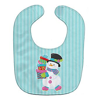 Carolines Treasures  BB8685BIB Christmas Snowman and Stripes Baby Bib