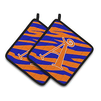 Letter A Monogram - Orange Blue Tiger Stripe Pair of Pot Holders