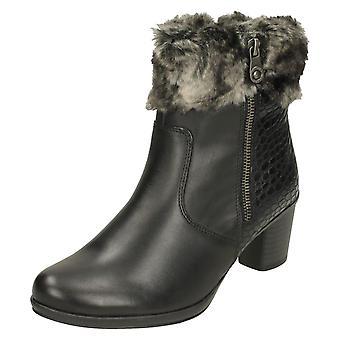 Ladies Remonte Faux Fur Cuff Ankle Boots R1585