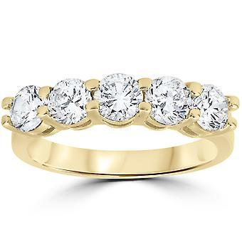 ラウンド カット リング 14 k 2 ct ダイヤモンド 5 石結婚記念日イエローゴールド