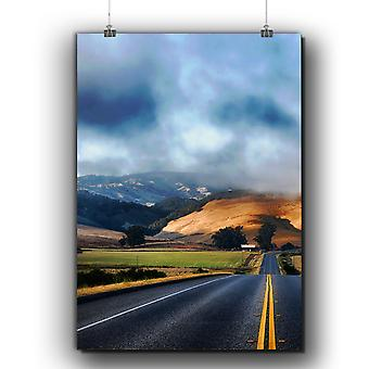 Matte or Glossy Poster with Hill Wild Highway Nature | Wellcoda | *q237