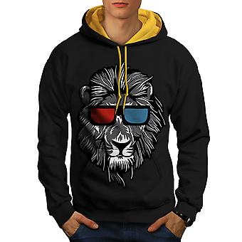 Lion Swag Cool animaux hommes noir (capot or) contraste Hoodie   Wellcoda