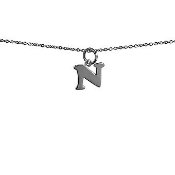 Silver 11x10mm plain Initial N Pendant with rolo Chain 14 inches Only Suitable for Children