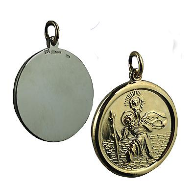 14ct Yellow gold on Silver 26mm round solid St Christopher Pendant