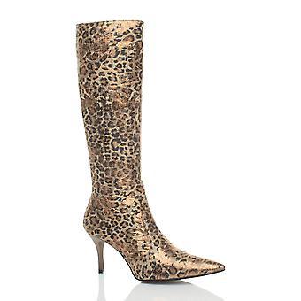 Ajvani dame leopard animal print midten hæl pegede fancy kjole zip op slim læggen støvler
