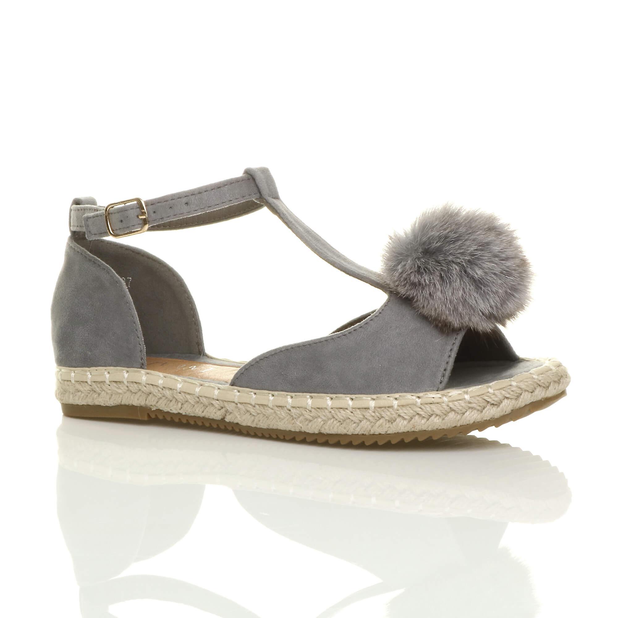 Ajvani donne piatta t-bar pom - - - pom fibbia peep toe scarpe espadrillas sandali. | Prezzo speciale  0f030f