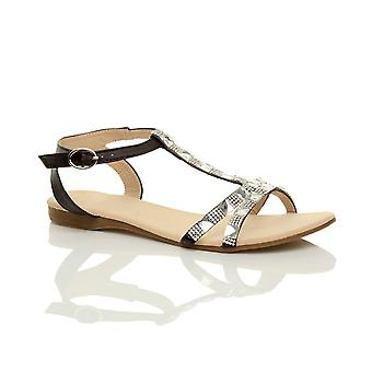 Ajvani womens flat low heel t-bar diamante gems ankle strap summer sandals shoes