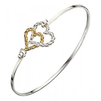Elements Silver Open Double Rope Heart Bangle - Silver/Gold