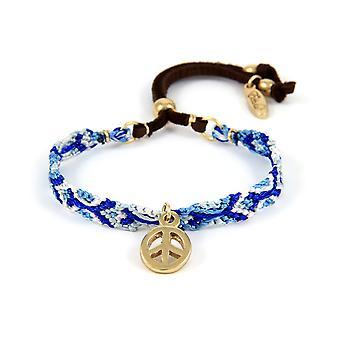 Ettika - Bracelet Peace and Love and cotton braid blue