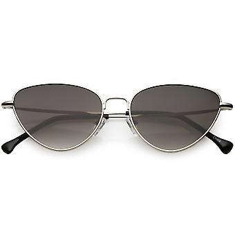 Women's Slim Metal Cat Eye Sunglasses Neutral Colored Flat Lens 54mm