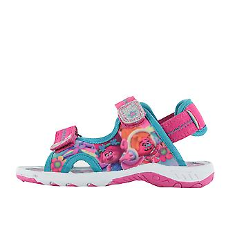 Girls Trolls Pink Sports Beach Sandals Hook & Loop UK Size 6 - 12