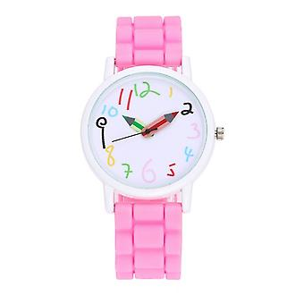 First Kids Childrens Girls Watch Pink Crayon Paint Colour Pencil Help Tell Time